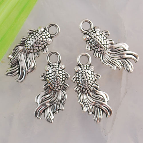 Ed1830 22pcs Tibetan silver gold fish charms