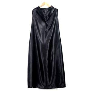 Black-Halloween-Costume-Theater-Prop-Death-Hoody-Cloak-Devil-Long-Tippet-Cape-QD