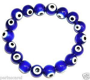 0b9935f24db6 PULSERA de OJOS TURCOS Azules 10 mm Preciosa y Protectora del Mal de ...