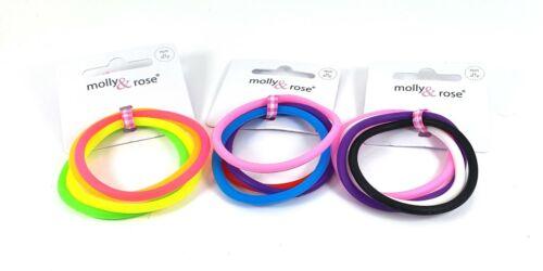 Set of 4 Endless Silicone Non Slip Hair Elastics Bobbles Ponios Bands