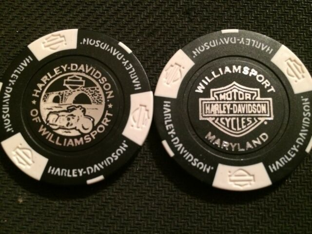 "Harley Davidson Poker Chip (NEW STYLE Black & White) ""H-D Williamsport"" Maryland"