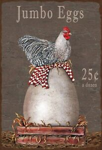 Jumbo Eggs Tin Sign Shield Arched Metal 20 X 30 CM SM0253-X