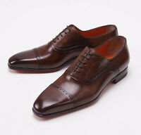 $990 Santoni Fatte A Mano Antique Brown Captoe Shoes Us 6.5 D Brogue Detail on sale