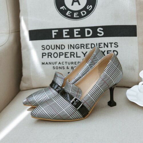 Details about  /WOmen/'s High Heels Stilettos Pointed Toe Checkered Pattern Slip On PUmps Shoes