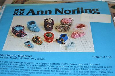 Grandma/'s Slippers Knitting Pattern Infant Toddler /& Adults Ann Norling #16A