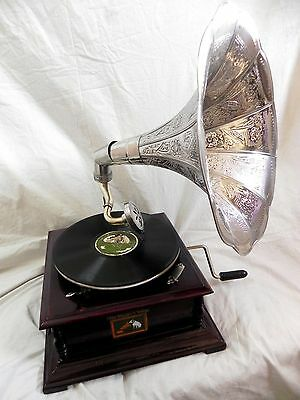 FULLY WORK ANTIQUE GRAMOPHONE PHONOGRAPH STEEL CRAFTED HORN SOUND BOX NEEDLE SET