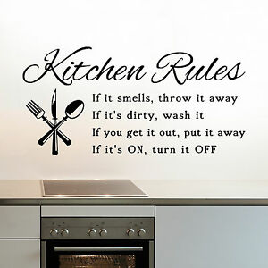 kitchen rules vinyl wall sticker quote mural decor removable decal