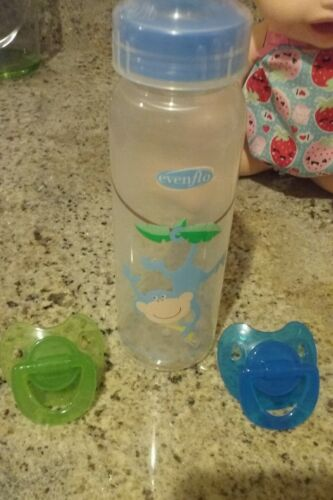 2 PACIFIERS AND BABY BOTTLE TO USE FOR  BABY ALIVE DOLLS NO DOLL INCLUDED !