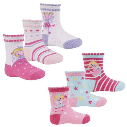 3 Pairs Baby Girls Socks Fairy 3 Pack Design Socks 0-0 0-2.5 3.5-5 44B625