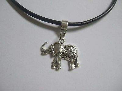Vintage Silver Black Real Leather Cord Choker Charm Necklace Pendant OM Moon 90s