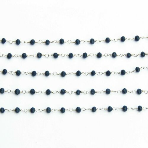 3,5,10 Feet Blue Apatite Hydro Faceted Rosary Beaded Silver Plated Chain Jewelry