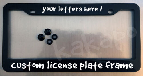 screw covers COLOR CHOICE Font 1 Custom personalized black license plate frame