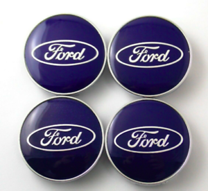 Ford-4-x-60mm-Blue-Chrome-Alufelge-Nabenkappen-Nabendeckel-Satz