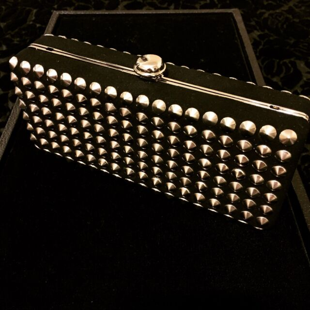 Deux Lux Black Clutch Silver / Chrome Studs Chain Strap NWT SOLD OUT!