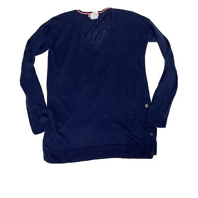 Lilly Pulitzer Liesel Sweater Blue Top Linen Career Women Navy Solid Size XS | eBay