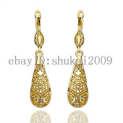 GPE345 2013 New Arrival 18K Yellow Gold Hollow Dangle Earrings