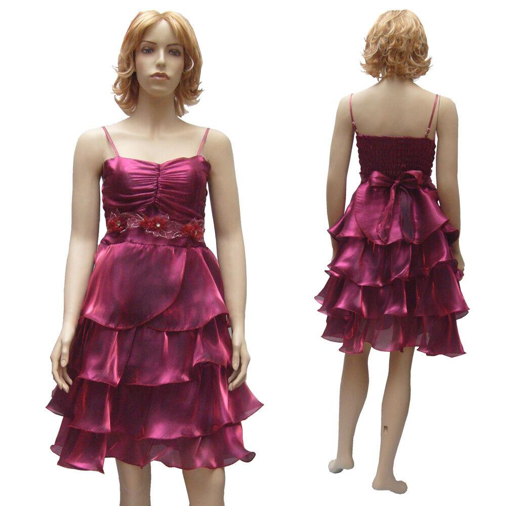 Robe soirée mariage demoiselle d'honneur volants organza pink foncé size 36 38
