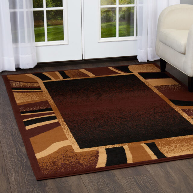 Contemporary Brown Border Area Rug 2x8 Modern Runner Actual 1 10 X 7 3 For Sale
