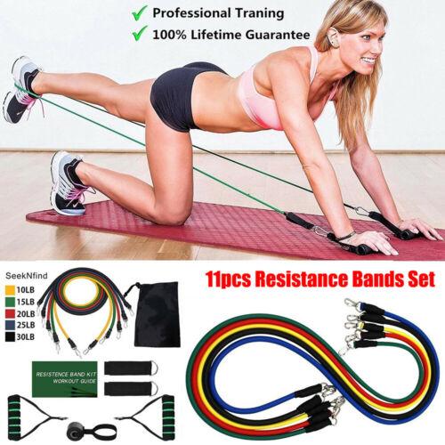 11pcs Resistance Band Set Yoga Pilates Abs Exercise Fitness Tube Workout Band US
