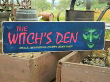"""Distressed Primitive Halloween Country Wood Sign - The Witch's Den  5.5"""" x 19"""""""