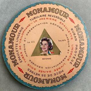 Ruban-tubulaire-rose-pour-bretelles-Devidoir-en-carton-Marque-vintage-MONAMOUR