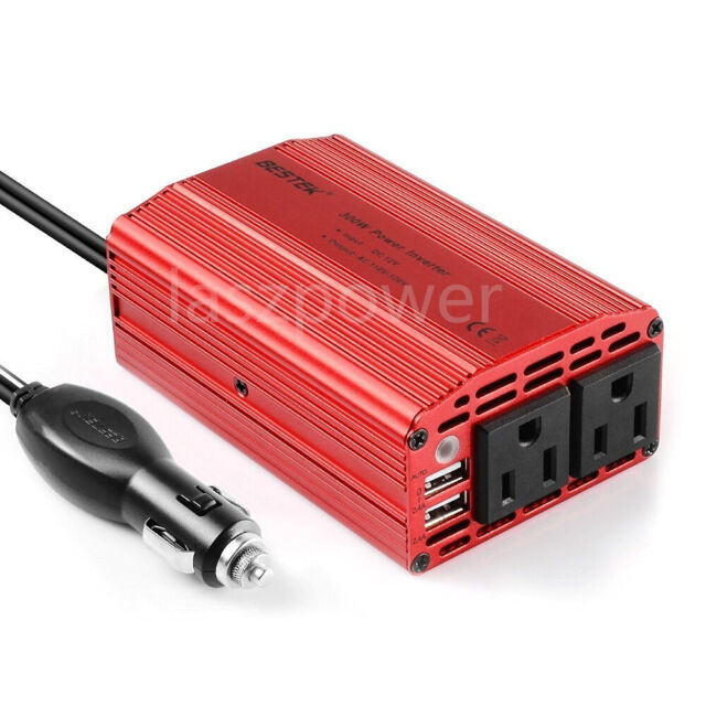 Bestek 300w Dual Dc 12v To 110v Ac Outlets Inverter Car Adapter 2 Usb Port