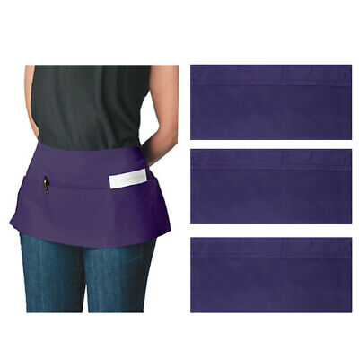 3pk//12pk Canvas 3-Pocket Waist Apron Bulk Set Short Waitress Waiter Server Half