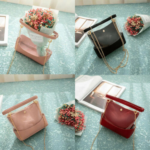 Women Transparent Bucket Bag Clear Jelly Small Shoulder Bag Lady Chain Crossbody