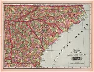 Map Of Georgia And South Carolina.Georgia North South Carolina Map Antique Maps 1903 Ebay