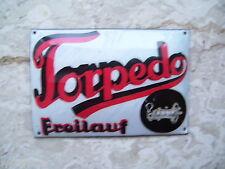 Schild Emblem Oldtimer Fahrrad Emailleschild Torpedo  Freilauf