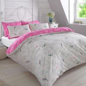 Vintage Vögel Pink Doppelbett Bezug Set Wende Blumen Bettwäsche Ebay