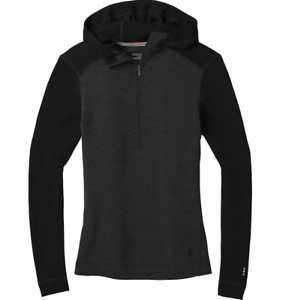 Smartwool Womens Charcoal Merino 250 Base Layer 1 2 Zip Hoodie Sz S 8070