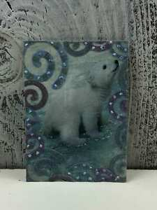ACEO-Trading-Card-The-Christmas-Rabbit-Made-Out-Glitter-Sticker
