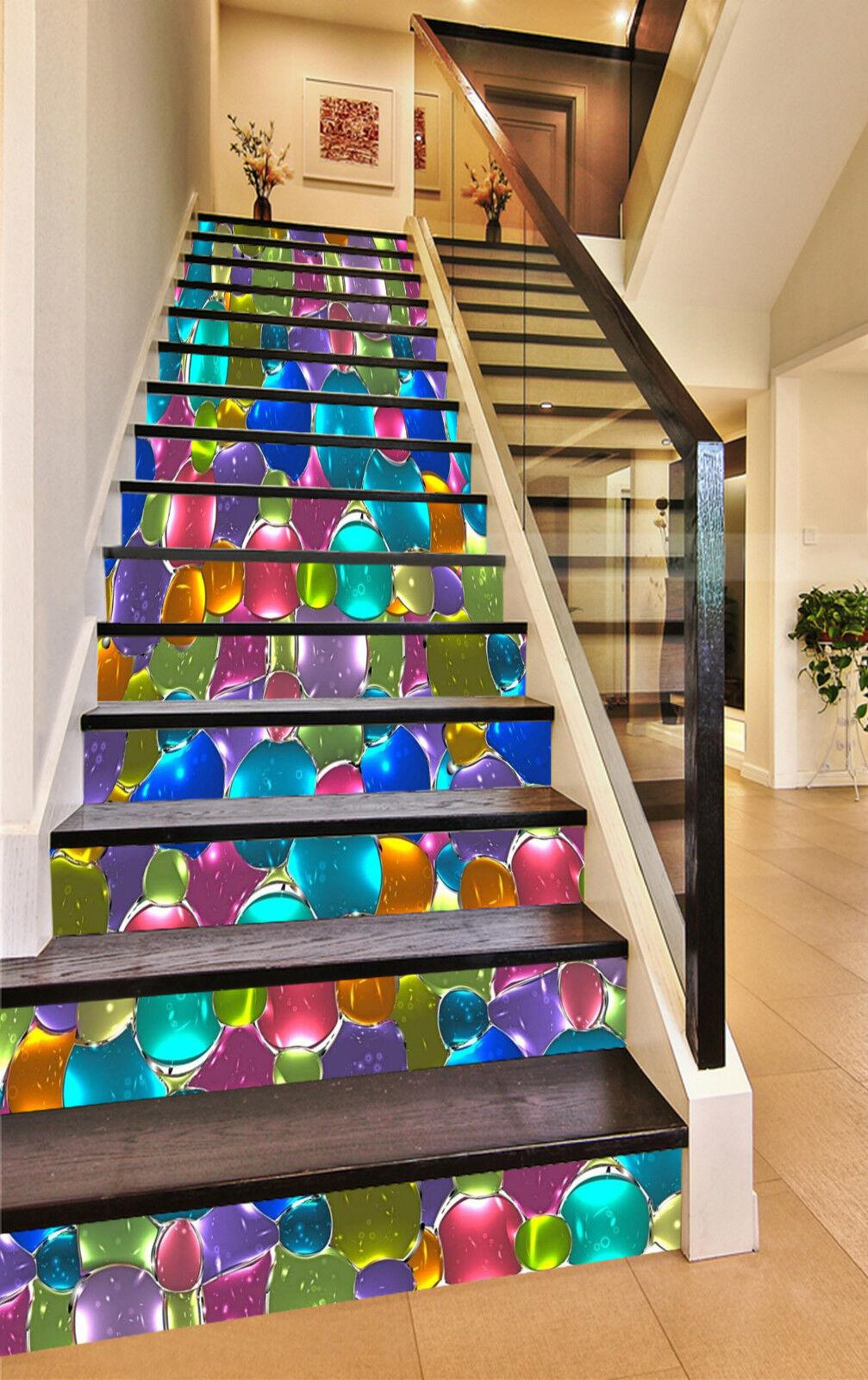 3D Farbe Kristall 4 Stair Risers Dekoration Fototapete Vinyl Aufkleber Tapete DE