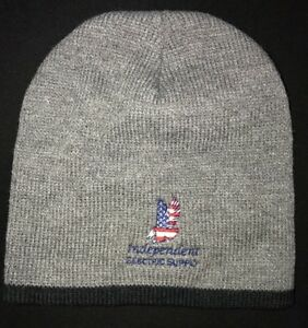 7910c42f362 mens one size gray BEANIE KNIT WINTER HAT eagle INDEPENDENT ELECTRIC ...