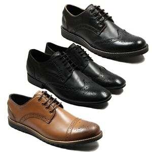 Mens-Lucini-Leather-Brogue-Designer-Lace-Up-Pointed-Toe-Office-Casual-Shoes-7-12