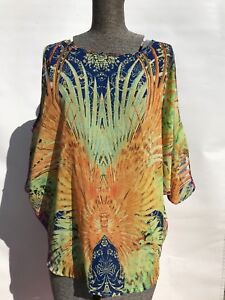 Ice-fashion-fun-printed-rainbow-multicolour-resort-beach-tunic-top-cold-shoulder