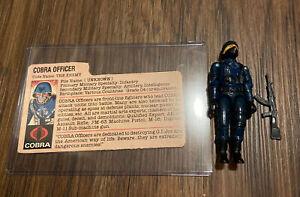 GI Joe ARAH 1982 Cobra Officer V1 Straight Arm 💯 Complete w/ File Card