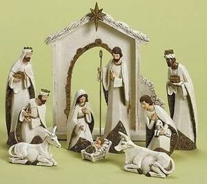 Ornate 10pc 8 quot gold amp ivory white nativity set stable amp animals new