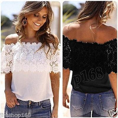 S//M//L Women Sleeveless Chiffon Chrocet Lace Top Summer Causal Sheer Blouse Shirt