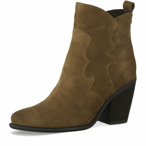 Ladies Tan Leather Cowboy Western Warm Lined Ankle Boots Marco Tozzi 25382