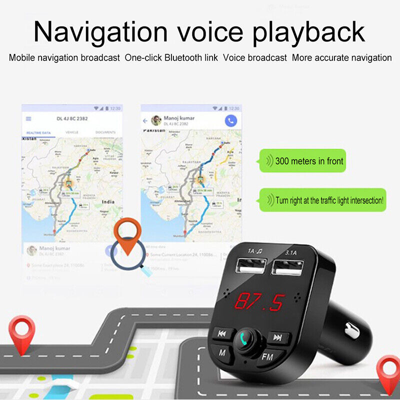 Bluetooth 5.0 Wireless FM Transmitter Car Audio MP3 Player Dual USB Charger Kit 10