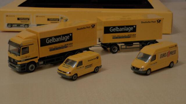 Herpa H0 Fahrzeuge Dt Post 2001 Gelbanlage MB L Sprinter VW T4 039665 Box 113202