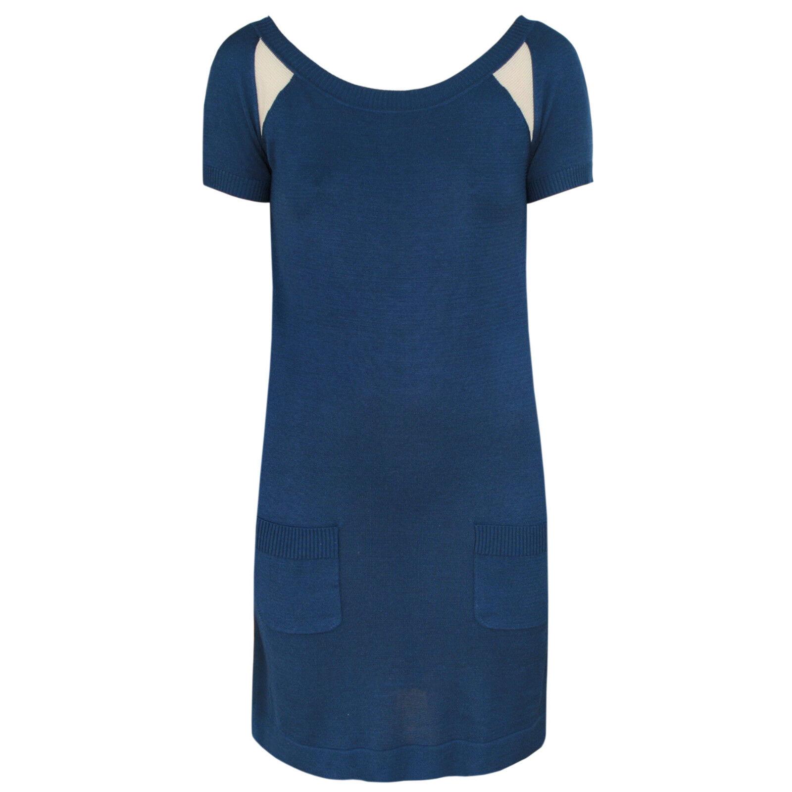 SPORTMAX MAX MARA Blau soft knit boatneck mesh triangle cut-out mini dress M
