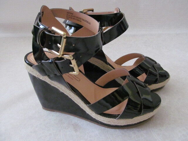 DIANE GILMAN FOR THEME BLACK STRAPPY PLATFORMS WEDGES SHOES SIZE 9 1 2 M - NEW
