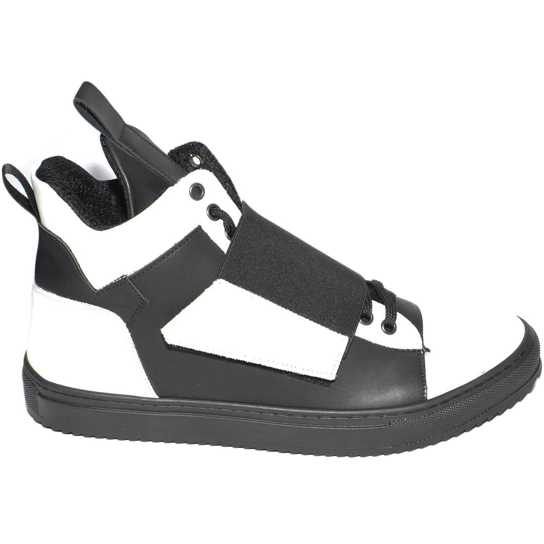 Sneakers alta white e black bicolor asimmetrico con strappo made in italy in ve