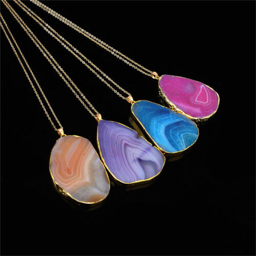 BD/_Magic Agate Druzy Emperor Quartz stone Natural Gold Pendant Necklace Jewe KG