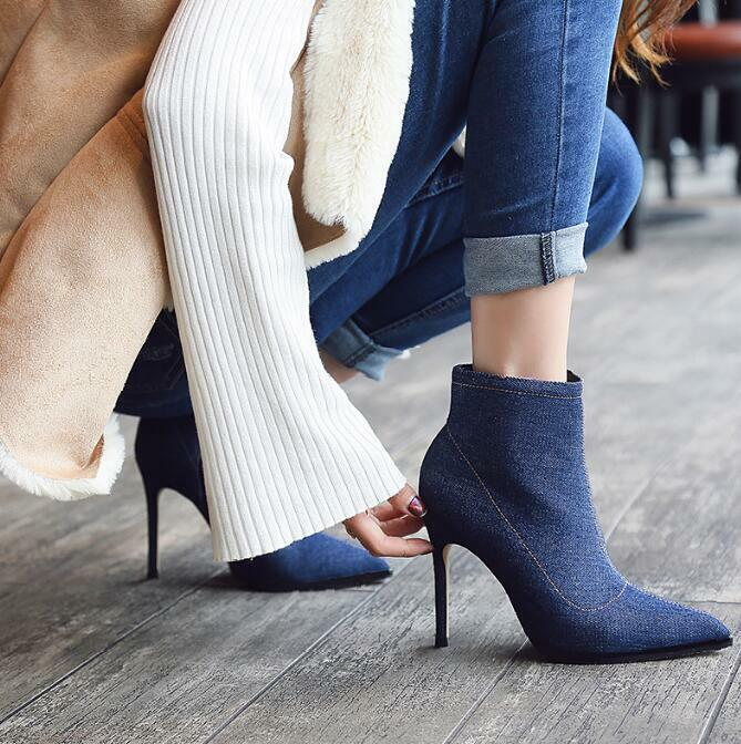 Ladies Womens Sexy Stilettos High Heel Ankle Boots Pointed Toe Shoes Denim Warm