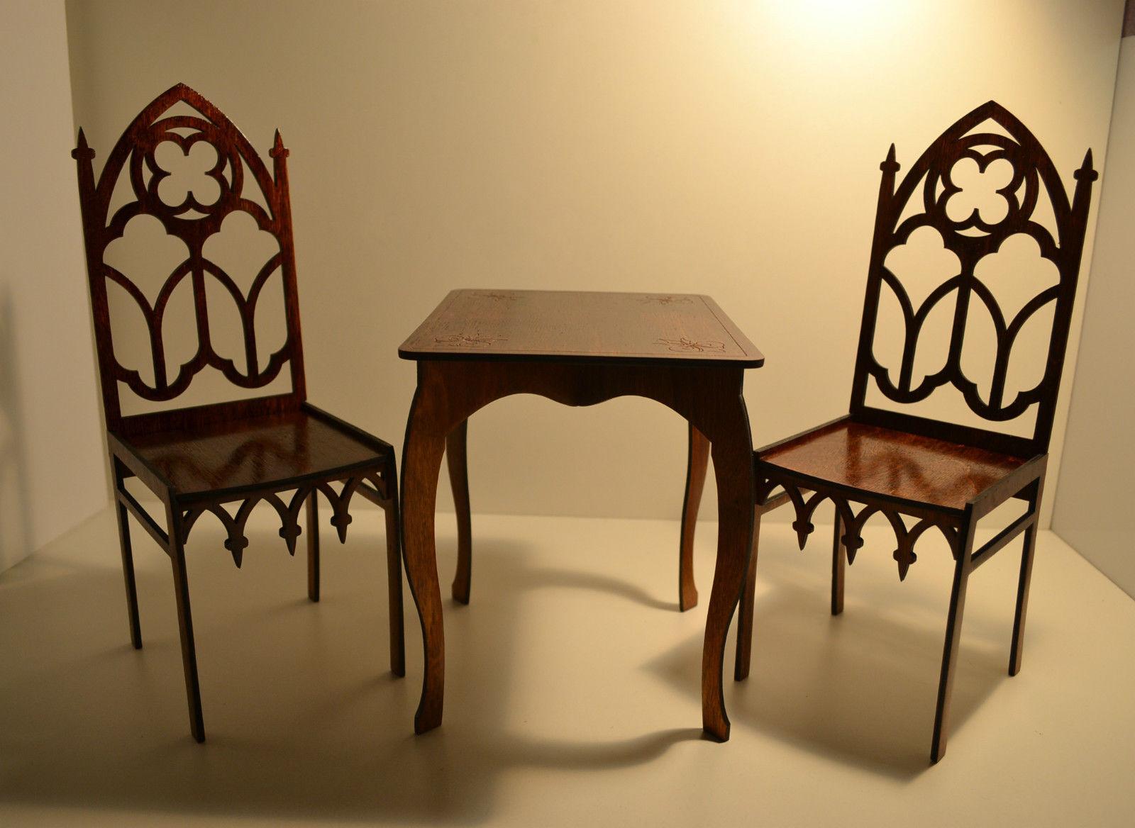 Muebles Para Muñecas 2 sillas & mesa 1 4 16-18  Tonner bjd de estilo gótico