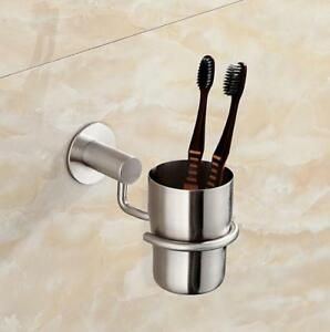 Image Is Loading Bathroom Toothbrush Holder Cup Tumbler Brushed Nickel Stainless